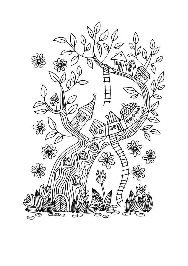 Vila do conto de fadas na árvore imagens de stock royalty free