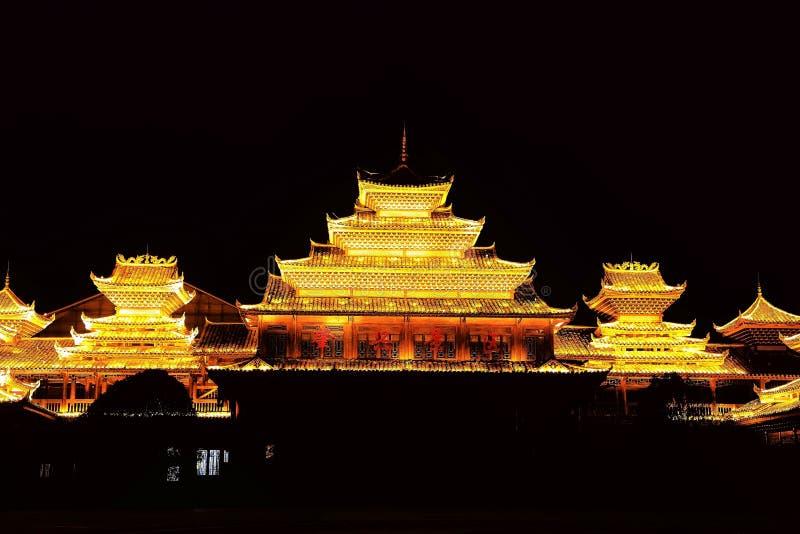 Vila do dong de Zhaoxing, as construções originais da nacionalidade do dong fotografia de stock