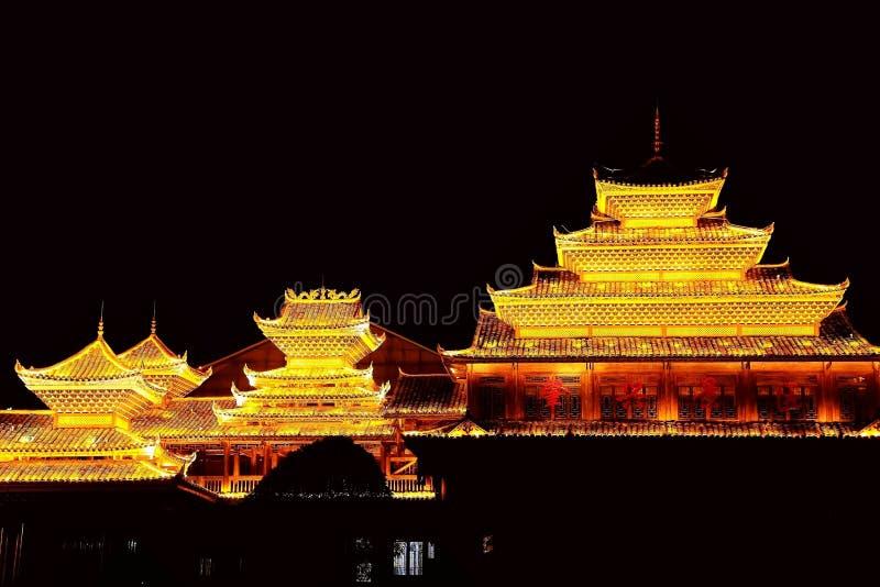 Vila do dong de Zhaoxing, as construções originais da nacionalidade do dong imagens de stock royalty free
