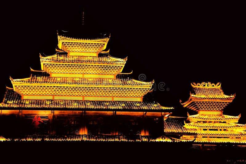 Vila do dong de Zhaoxing, as construções originais da nacionalidade do dong imagens de stock