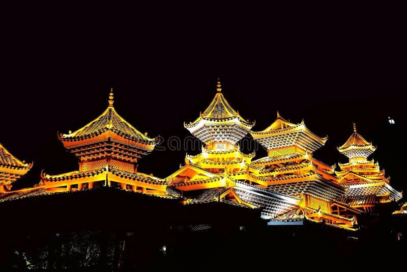 Vila do dong de Zhaoxing, as construções originais da nacionalidade do dong fotos de stock