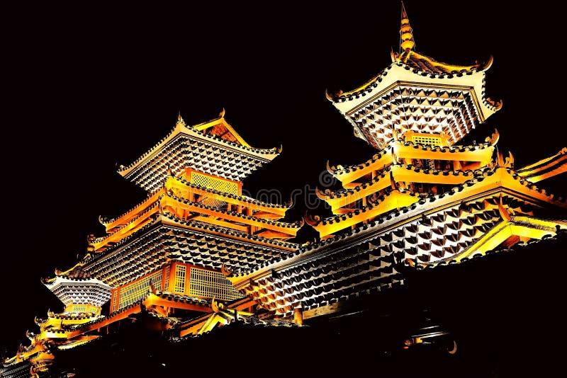 Vila do dong de Zhaoxing, as construções originais da nacionalidade do dong fotos de stock royalty free