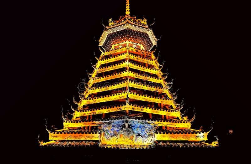 Vila do dong de Zhaoxing, as construções originais da nacionalidade do dong imagem de stock royalty free