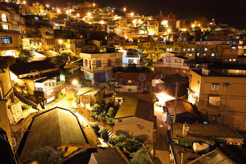 Vila do fen de Chiu na noite, em Formosa imagens de stock royalty free