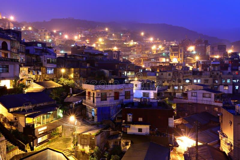 Vila do fen de Chiu na noite, em Formosa fotografia de stock royalty free