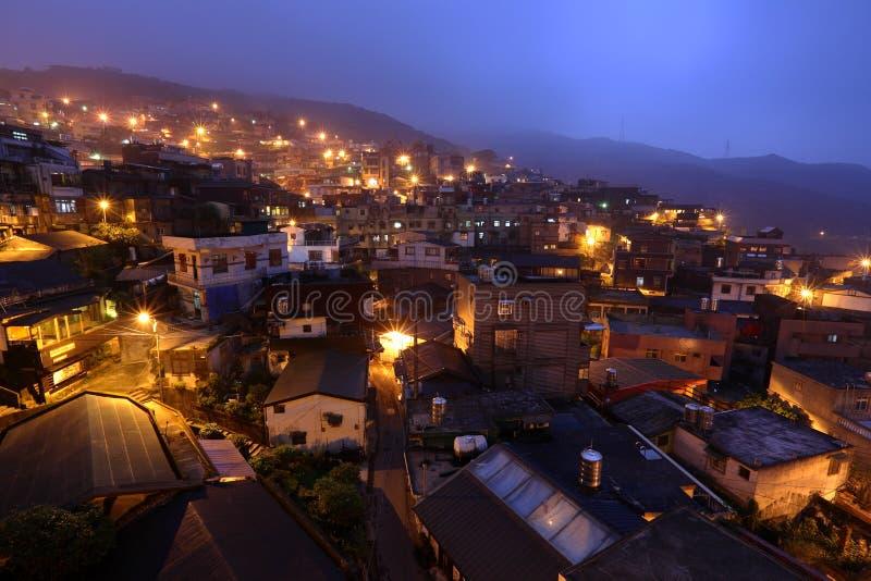 Vila do fen de Jiu na noite imagem de stock
