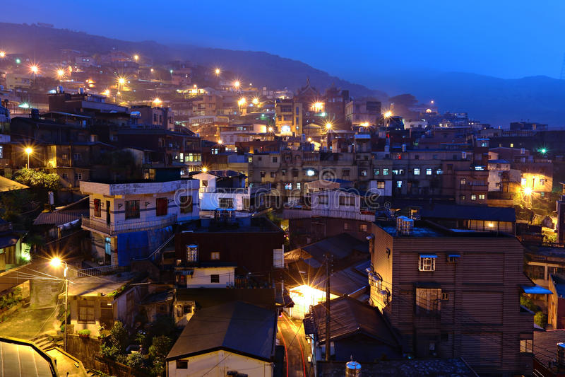 Vila do fen de Jiu na noite fotografia de stock