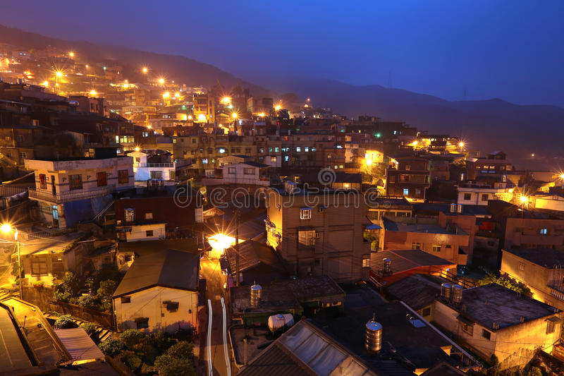 Vila do fen de Jiu na noite imagens de stock royalty free