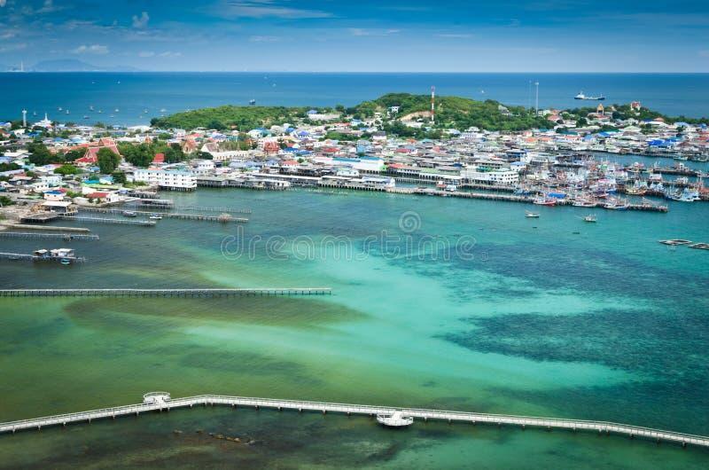 Vila do fisher da vista superior em Tailândia imagem de stock royalty free