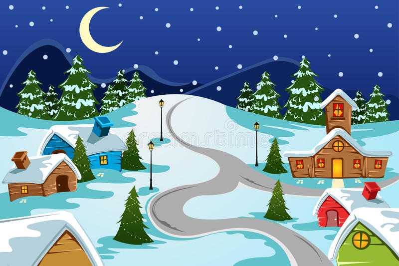 Vila do inverno ilustração royalty free
