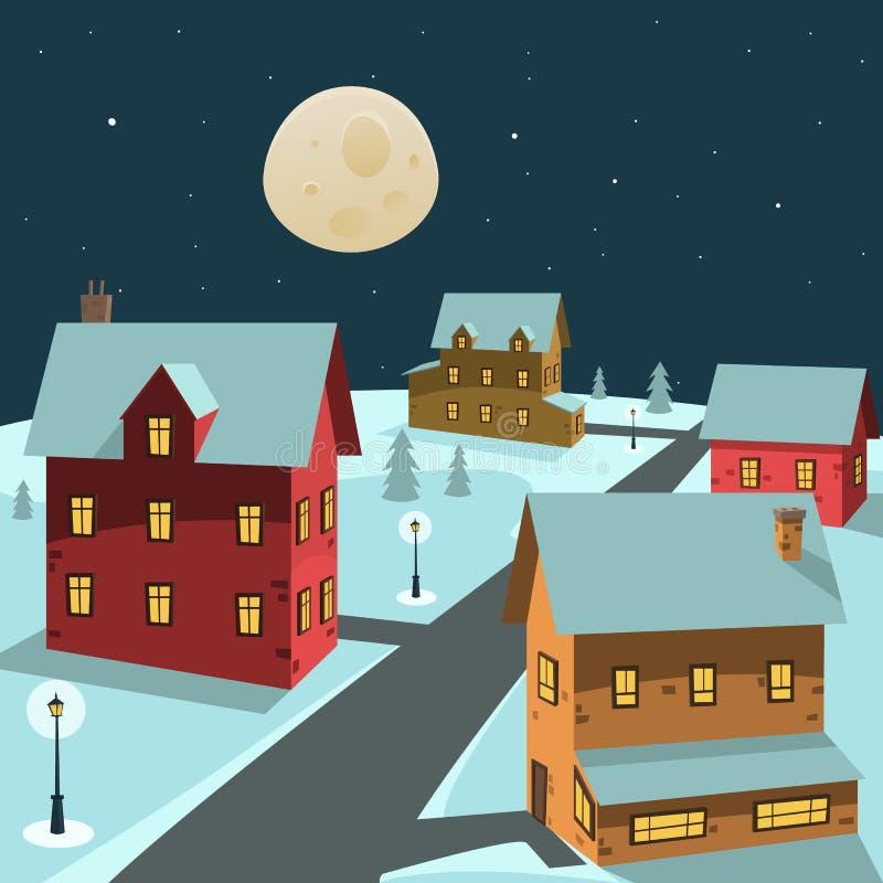 Vila do inverno ilustração stock