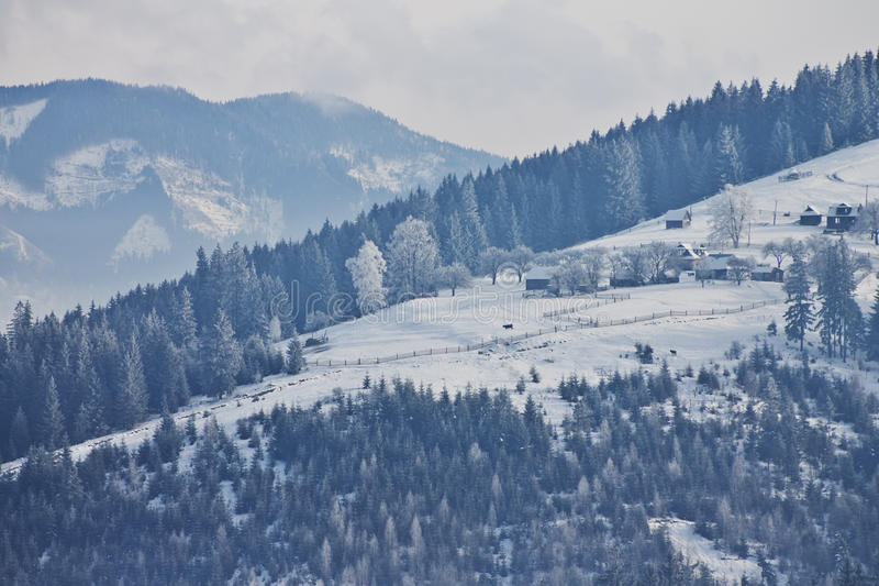 Vila do inverno imagem de stock