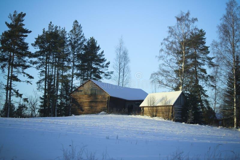 Vila do inverno/edifícios de madeira sob a neve imagem de stock royalty free