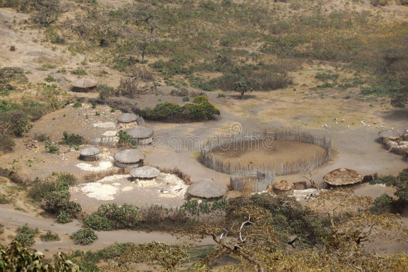 Vila do Masai, grande Rift Valley, Tanzânia, África oriental foto de stock royalty free