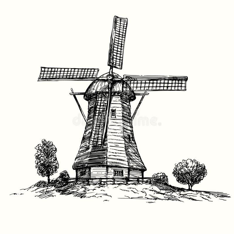 Vila do moinho de vento em Holland ilustração do vetor