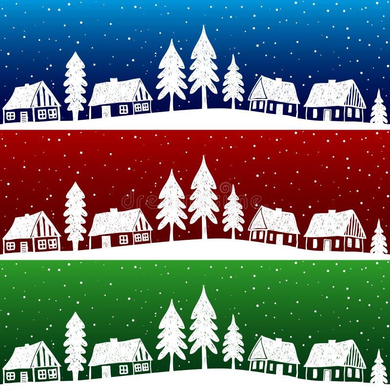 Vila do Natal com teste padrão sem emenda da neve ilustração royalty free