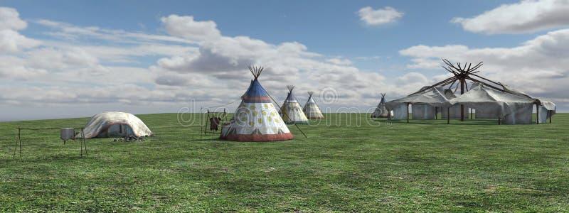 Vila do nativo americano ilustração stock