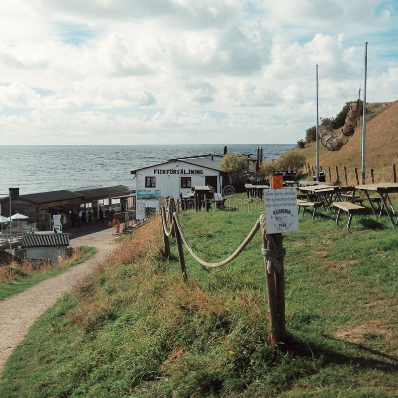 Vila do pescador no sul de sweden imagens de stock royalty free
