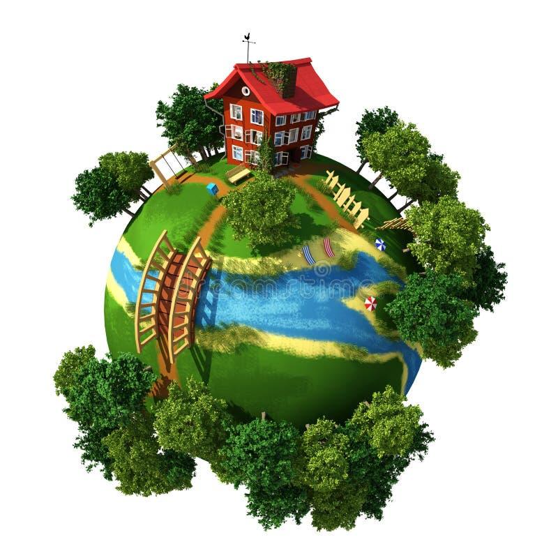 Vila do planeta ilustração royalty free