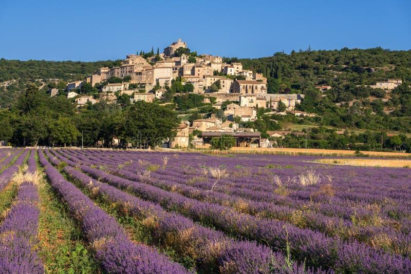 A vila do Simiane-la-Rotonde no verão com alfazema coloca Alpes-de-Hautes-Provence, França fotos de stock royalty free