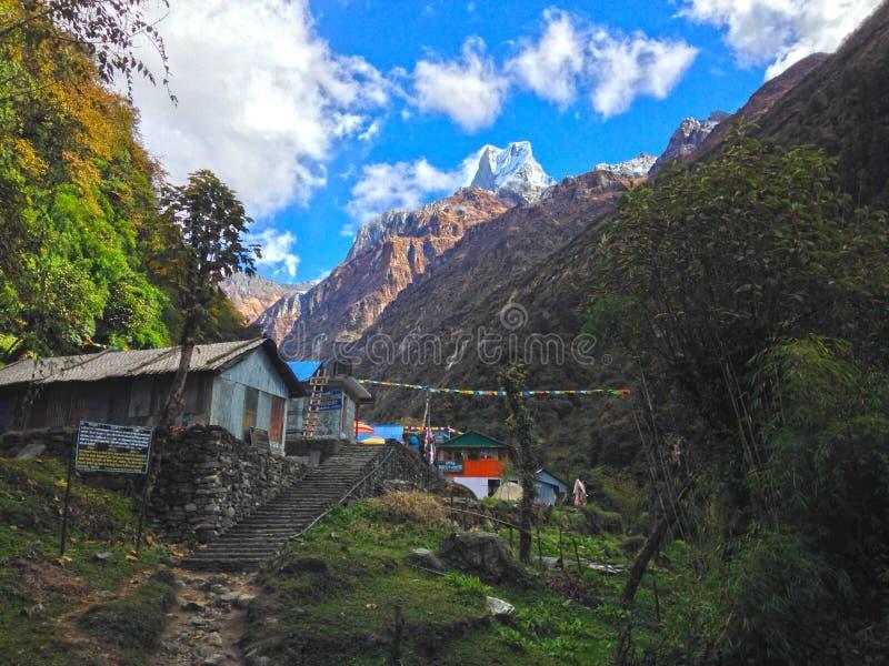 Vila Dovan e montanha Machapuchare imagens de stock