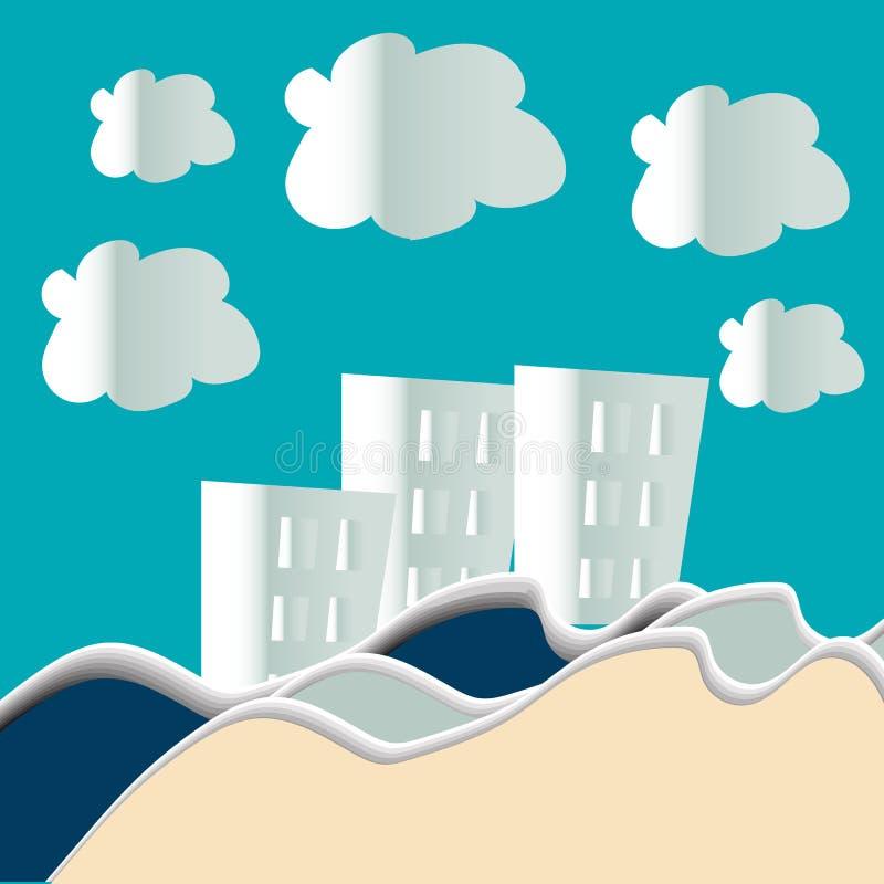 A vila e o mar urbanos da cidade da paisagem do campo latem com nuvens, arte de papel e estilo digital do ofício ilustração do vetor