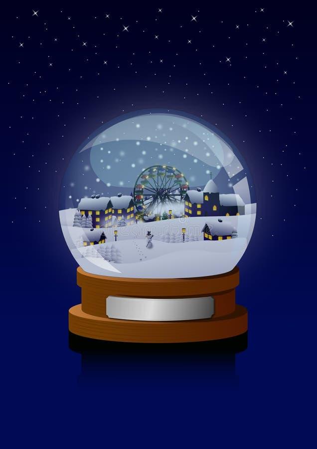 Vila em um globo da neve ilustração royalty free