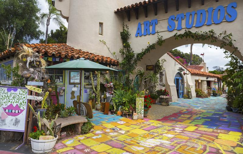 Vila espanhola Art Studios Balboa Park San Diego California imagens de stock royalty free