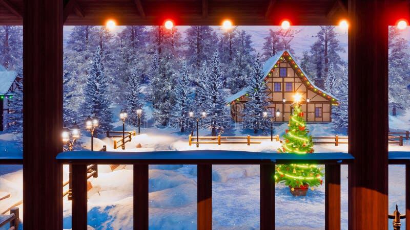 Vila europeia acolhedor na noite de Natal nevado ilustração royalty free