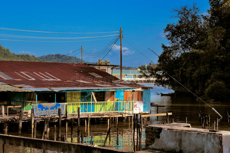Vila famosa da água de Brunei fotografia de stock