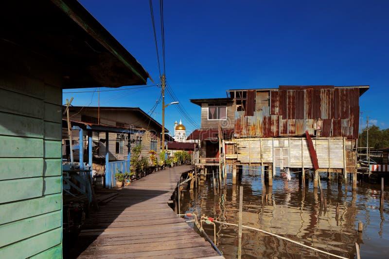 Vila famosa da água do capital de Brunei imagens de stock