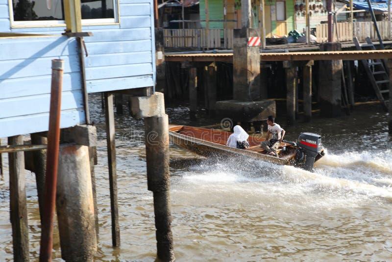 Vila famosa da água em Brunei Darussalam Bornéu foto de stock