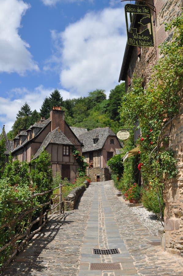 Vila francesa medieval típica, Conques, França fotografia de stock