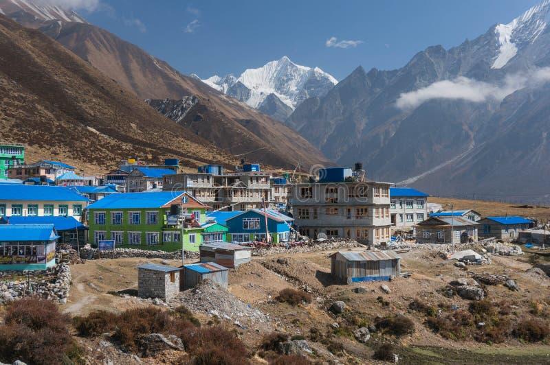 Vila Kyangjin Gompa nepal Vista de Kyangjin Ri fotografia de stock royalty free