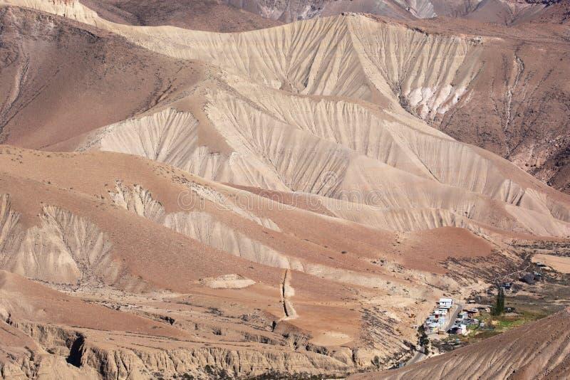 Vila minúscula no deserto de Atacama, o Chile do norte fotografia de stock royalty free