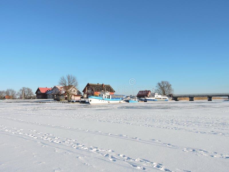 Vila Minge no inverno, Lituânia fotografia de stock