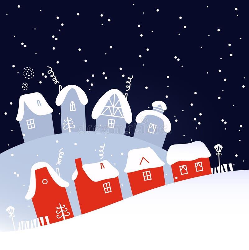 Vila nevando do Natal do inverno ilustração royalty free