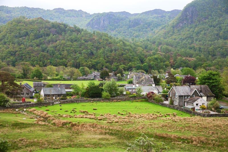 Vila no distrito do lago, Cumbria, Inglaterra, Reino Unido fotografia de stock