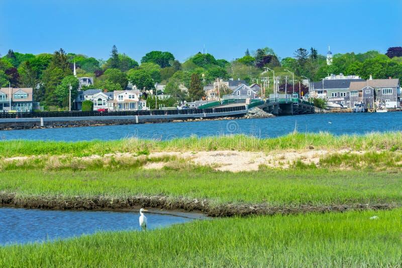 Vila nova Dartmouth M do porto da ponte de Padnaram do grande Egret branco imagens de stock