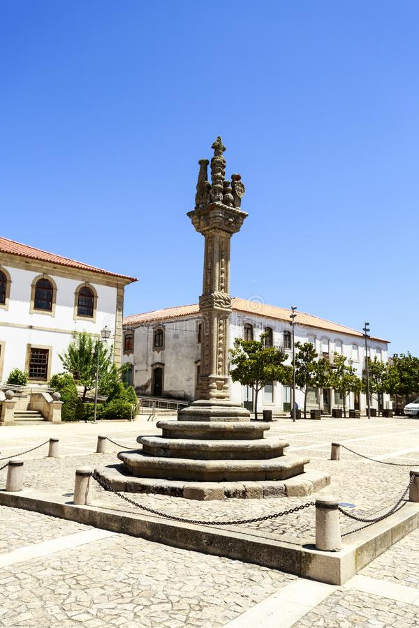 Vila Nova de Foz Coa †'Manueline pręgierz obrazy royalty free
