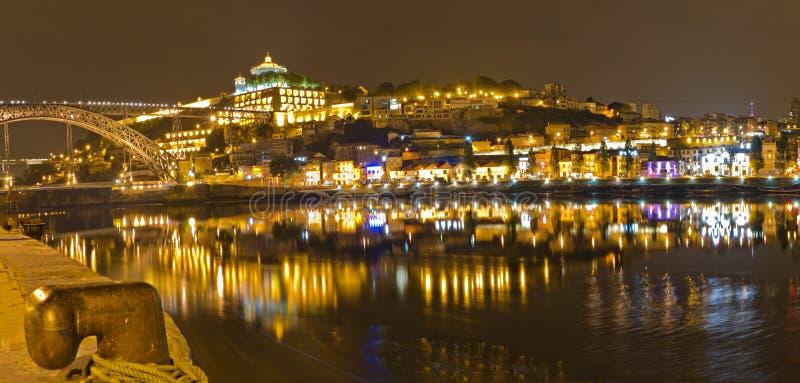 Vila Nova de Gaia at night , Portugal stock images