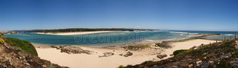Vila Nova de Milfontes beach and Mira river mouth panorama royalty free stock photo
