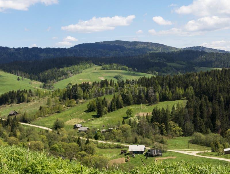 Vila pequena em Carpathians bonitos, Ucrânia fotos de stock