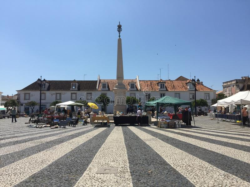 VILA REAL DO SANTO ANTONIO. Located on the banks of the Guadiana River, which separates it from neighboring Spain, is the city of Vila Real de Santo António stock photo