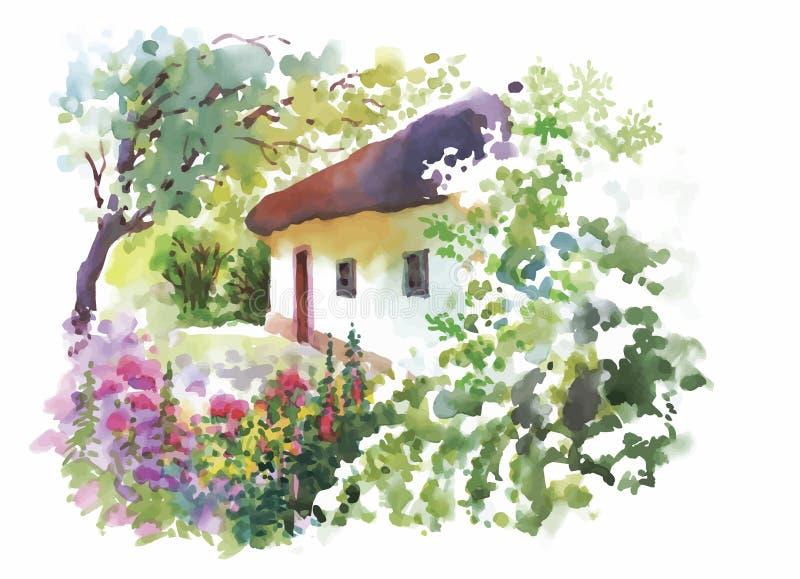 Vila rural da aquarela na ilustração verde do dia de verão ilustração stock