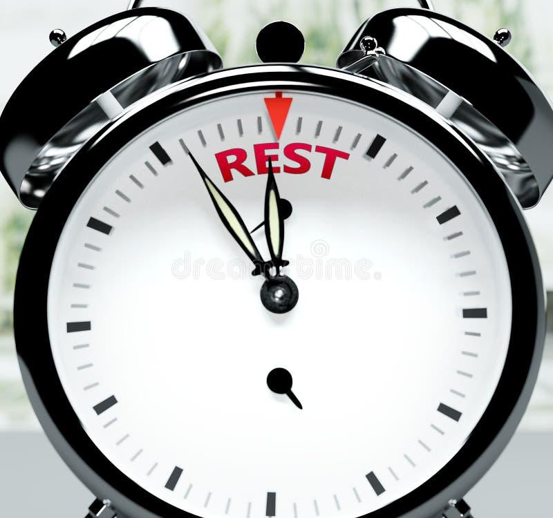 Vila snart, nästan där, på kort tid - en klocka symboliserar en påminnelse om att Rest är nära, kommer att hända och avslutas sna royaltyfri illustrationer
