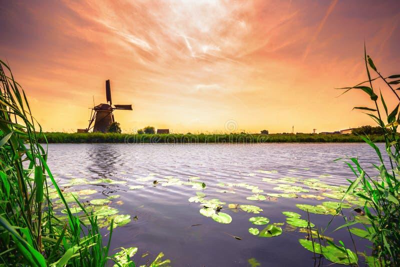 Vila tradicional com moinhos de vento holandeses e rio no por do sol, Holanda, Países Baixos imagens de stock