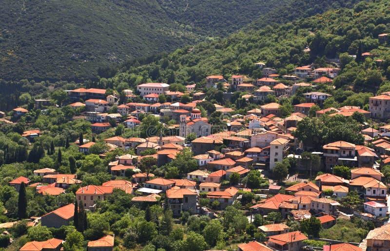 Vila tradicional grega em Arcádia, fotos de stock