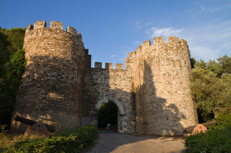 Vila Vicosa castle gateway and canons royalty free stock photography