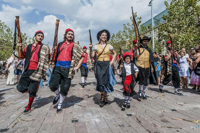 Représentation de Cercavila chez le commandant de Vilafranca del Penedes Festa image libre de droits